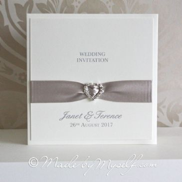 Ribbon Heart Pocketfold Wedding Invitation